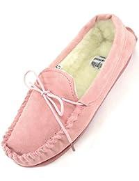 Ladies/Womens Genuine Suede Piel Mocasín/zapatillas con forro de lana caliente
