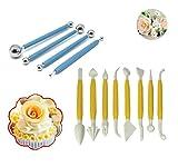 Strumenti di torta fai da te, 8 pezzi di plastica strumenti di modellazione fondente e 4 pezzi di metallo palla torta fondente che decora gli attrezzi