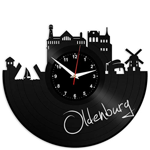 EVEVO Oldenburg Wanduhr Vinyl Schallplatte Retro-Uhr groß Uhren Style Raum Home Dekorationen Tolles Geschenk Wanduhr Oldenburg