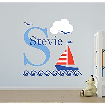 Vu0026C Designs Ltd (TM) Nautical Sailing Boat Name Wall Stickers Girls Room  Boys Room Nursery Bedroom Wall Sticker Mural Transfer Vinyl Decal  *Personalise With ... Part 72