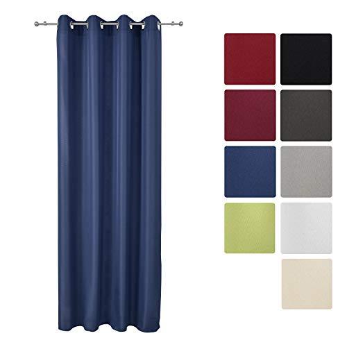 Beautissu Fenster Vorhang Ösen-Vorhang Amelie - 140x245 cm Blau - Dekorative Gardine Ösenschal Fenster-Schal