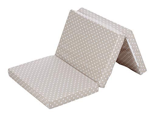 Alvi Matratze Baby Reisebett 60x120cm | Faltmatratze mit Tragetasche | Klappmatratze 6 cm dick | Baumwollbezug abnehmbar, atmungsaktiv, waschbar, schadstoffgeprüft, Design:Stars beige