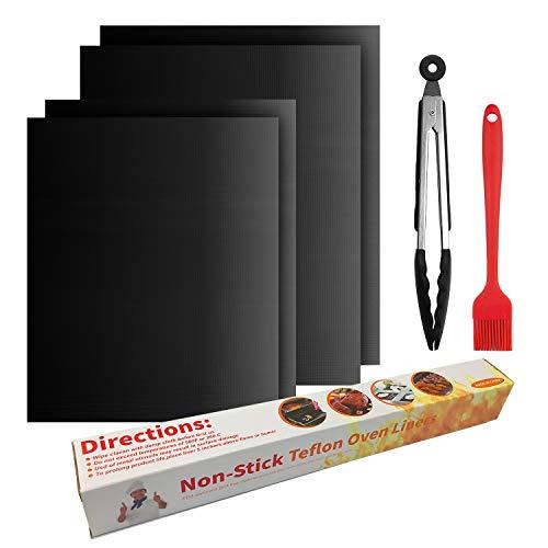 BBQ Grillmatte, JELLAS Antihaft Grill Backmatte Wiederverwendbar Extra große Grillfolie Grillmatten für Holzkohle, Gasgrill und Backofen, 2er 40x33 cm, 2er 50x40 cm, 12