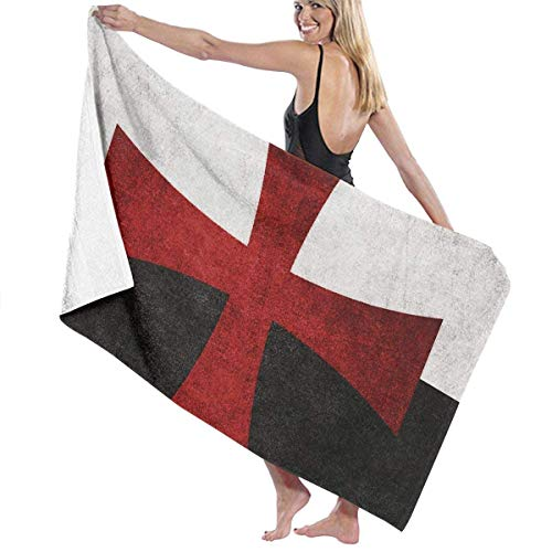 fjfjfdjk Black and White Flag with Red Iron Cross Adult Microfiber Beach Towel Large 31x51 Inch Quick Dry Highly Absorbent Multipurpose Use Pool Towel for Women Men -