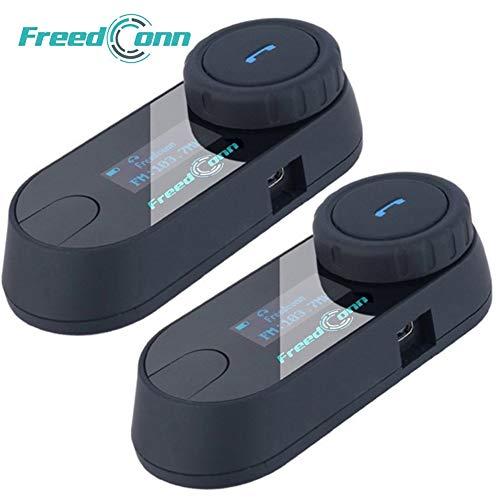 FreedConn Motorrad Intercom TCOM-SC Helm Bluetooth Headset-Gegensprechanlage für Motorrad-Skifahren LCD-Bildschirm / FM Radio / Freisprechen / Reichweite-800M / 2-3Riders Pairing / Schwarz