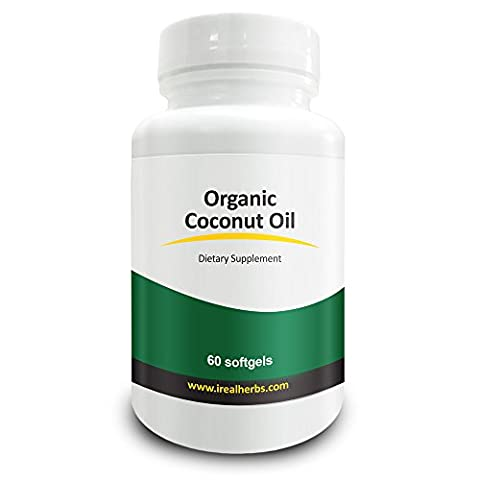Real Herbs Bio Huile de Coco Gélules 2000 mg - supplément de force élevé pour votre peau et les cheveux - pressée à froid en gélules pour une meilleure absorption que les Capsules - 60 Gels Soft