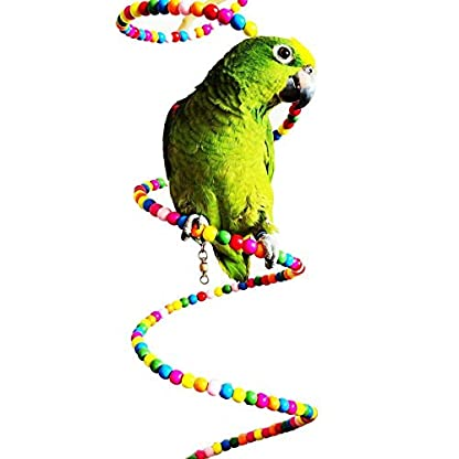 Keersi Colourful Rotate Ladder Toy for Bird Parrot Budgie Parakeet Cockatiel Conure Lovebird Finch Canary Cockatoo African Grey Amazon Cage Perch Stand 4