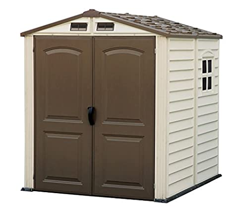 Duramax Premier Series Vinyl Storage Sheds with Shingle overlapped Roof & plastic Floor and a Fixed Window - StoreMate (6 x 6 ft)