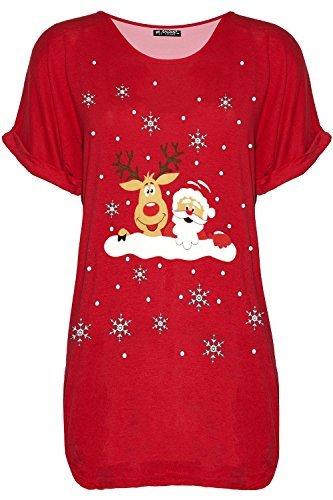 Be Jealous Damen Weihnachten Schneemann Tanzende Rentier Weihnachten übergroßer Baggy-Stil T-Shirt UK Übergröße 8-22 - Rentier Santa Wall rot, M/L (UK 12/14)