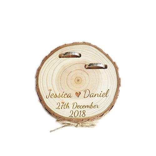 HOMEDAI Personalisierte Holz Ring Halter Ring Box, Benutzerdefinierte Hochzeit Ring Bearer Box, Rustikale Hochzeit Ring Kissen Alternative, benutzerdefinierte Namen und Datum,A
