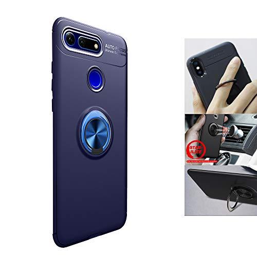 DAYNEW für Huawei Honor View 20 Hülle,Ultra Dünn Abnehmbare Hybrid Dual Layer Defender Case,hybrid Metallring mit Klappständer,für Huawei Honor View 20-Blau