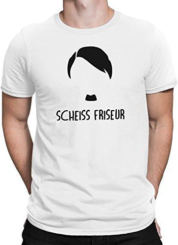 Adolf Hitler Scheiss Friseur Anti Nazi gegen Rechts / Premium Fun Motiv T-Shirt XS-5XL mit Aufdruck / Ideales Geschenk, Size:L, Color:Weiß