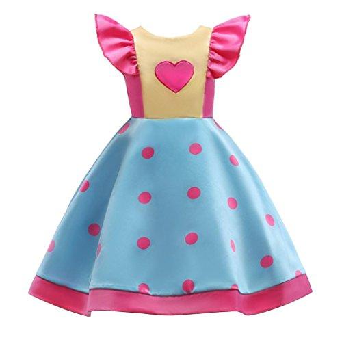 nzessin Kleider Kostüm, Longra Kinder Festliche Kleider Polk Dot Brautjungfern Kleider Hochzeit Party Kleid Mädchen Volant-Arm Candy Color Satinkleider (Blue, 110cm 4Jahre) (Candy Land Party)