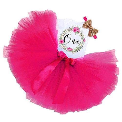 MIOIM Baby Mädchen Weiß T-Shirt + Tüllrock Tutu Rock + Stirnband 1. Geburtstag Party Kleid Outfit Ballettrock Tütü Tutu Unterkleid Petticoat 6- 12 Monate Rose
