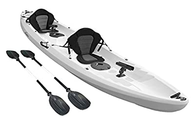 Bluefin Single Sit On Top Fishing Kayak| With Rod Holders, Storage Hatches, Padded Seat & Paddle (White Tandem) by Bluefin Kayaks