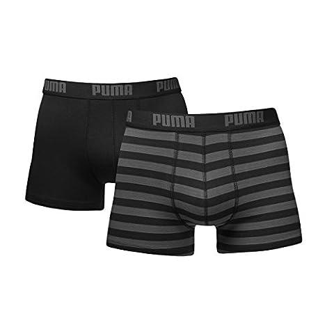 Puma 651001001 - Lot de 2 Boxer - À rayures - Homme - Noir (Black) - M