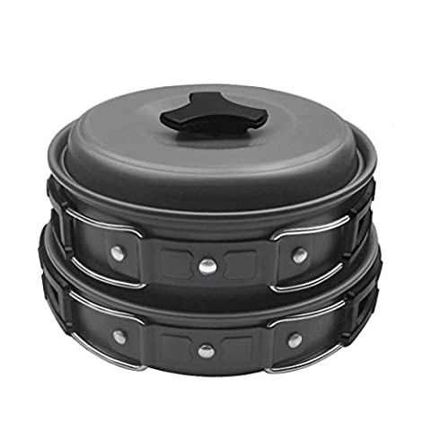 Camping Cookware Kit for 1 to 2 People – PYHOT 8pcs Portable Campfire Cook Set Cooking Equipment for Camping Backpacking Gear Hiking BBQ Picnic Outdoor – Pan Pots Plates Bowl