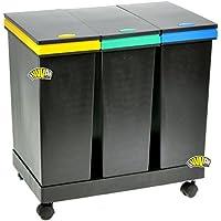 SMARTY ECOBIN 3 Contenedores para separación de residuos, 63 l totales - 55 x 34 x 50 cm de altura