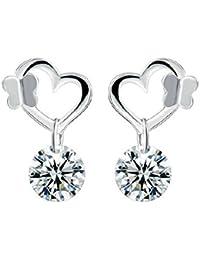 Silver Shoppee 'Glowing Heart' Sterling Silver Earrings for Kids, Girls and Women