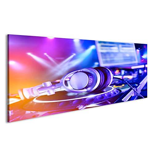 bilderfelix® Acrylglasbild Glasbild DJ-Mixer mit Kopfhörern im Nachtclub Im Hintergrund Laserlicht-Show Wandbild, hochglanzpoliert HBS (Kopfhörer Dj-mixer)