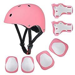 Idea Regalo - Wayin Casco Bici Protezioni Set per Bambini Regolabile Gomitiere Polso Ginocchiere per Skateboard Pattini in Linea Bicicletta Protezione Bambina (Rosa Casco)