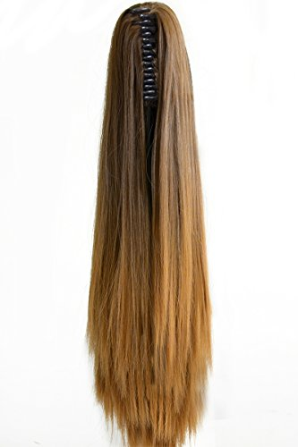 Neverland Beauty 20(50cm) Ombre Two Tone Long Straight Clip in/on Wavy Ponytail Pony Tail Hair Extension Hairpiece Claw 8#/27# by Neverland Beauty -