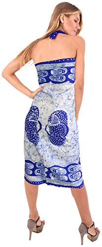 La Leela costumi da bagno liscia rayon mano batik turbinii bikini sarong insabbiamento 78x42inch Twitter Blu