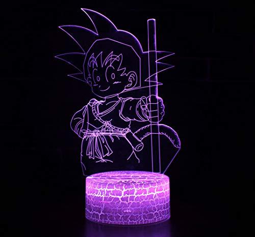 3D Lámpara óptico Illusions Luz Nocturna, CKW 7 Colores Cambio de Botón Táctil y Cable USB para Cumpleaños, Navidad Regalos de Mujer Bebes Hombre Niños Amigas (Dragon ball 10)