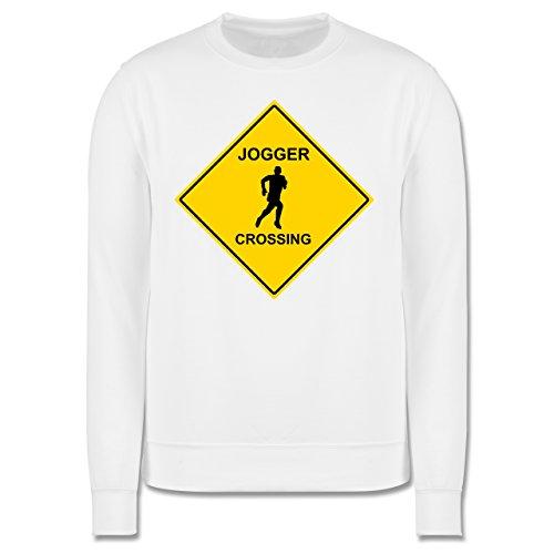 Laufsport - Jogger - Herren Premium Pullover Weiß