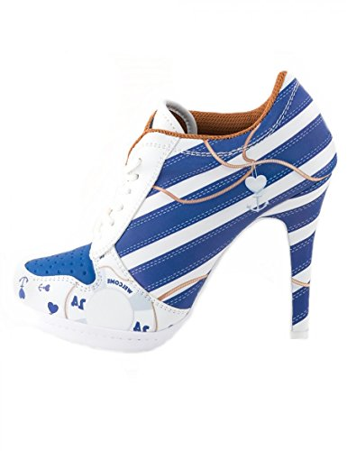MISSY ROCKZ Pin Up High Heels Welcome On Board White/Blue Elegant wie ein High Heel - Bequem wie ein Sneaker, Größe EU:40, Farbe:Weiß/Blau (Heel-schuhe Marine-blau-high)