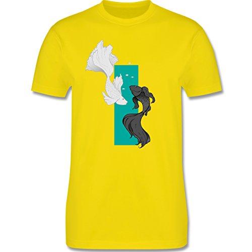 Sonstige Tiere - Fische Yin und Yang - Herren Premium T-Shirt Lemon Gelb