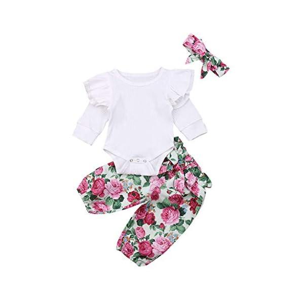 Traje de Dormir Mameluco Tops de Mameluco con Mangas con Volantes para bebés y niños pequeños + Pantalones Florales… 4