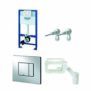 Grohe 38888000 38888000-Rapid SL Cisterna empotrada con pulsador Skate Cosmo y Sistema de Limpieza Fresh, 1m-4pulgadas