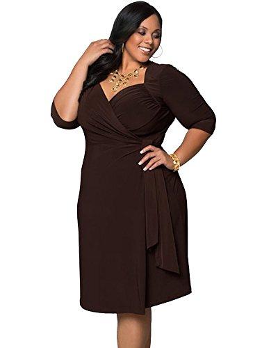 Moollyfox Femme Loisir Vrac Élastique Grande Taille Solide Couleur Robes Marron