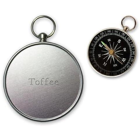 Pequeña brújula con grabado nombre de Toffee (nombre de pila/apellido/apodo)