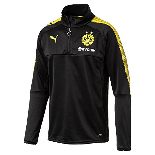 PUMA Herren BVB 1/4 Training Top with Sponsor Logo T-Shirt, Black-Cyber Yellow, L