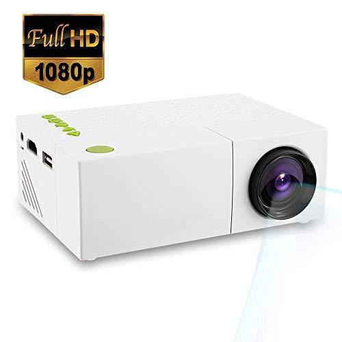 Mengen88 1080P Mini-Projektor tragbar, HD LED 3D Vision Multimedia-Filmprojektor Kompatibel mit HDMI USB SD-Karte, für Party-Spiel und außerhalb Camping (Außerhalb Party-spiele Der)