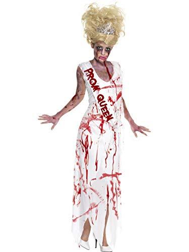 Frauen Kostüm blutige Ballkönigin Horror Schulball, Bloody Zombie High Scholl Prom Queen, perfekt für Halloween Karneval und Fasching, L, Weiß ()