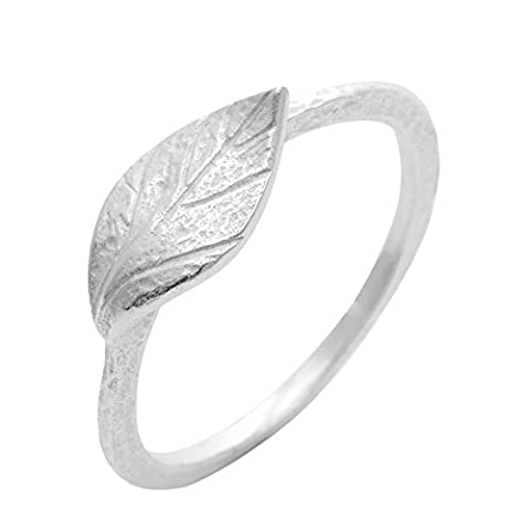 Silverly Women's .925 Sterling Silver Satin Finish Textured Leaf Band Ring