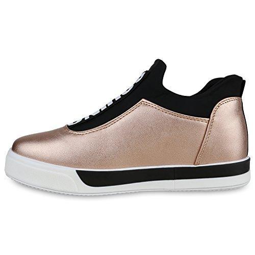 Damen Sneakers Slip-ons Mini-Keilabsatz Prints Sportschuhe Rose Gold