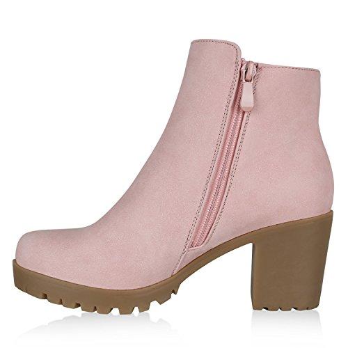 Damen Stiefeletten Ankle Boots Profilsohle Blockabsatz Schnürer Rosa Rosa