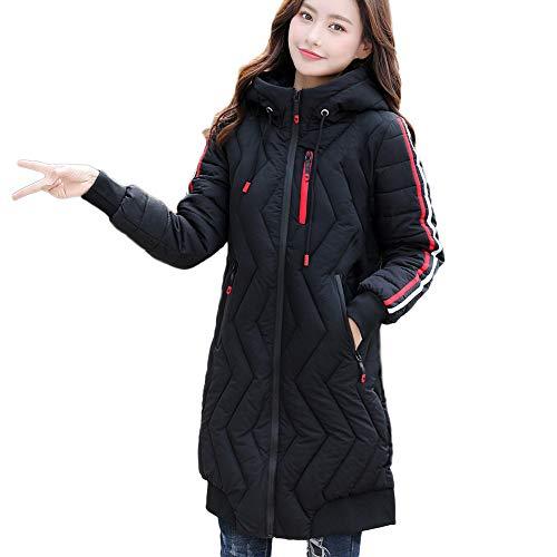 HuaMore Frauen-Winter-Warmer Mantel-Streifen-mit Kapuze Starke warme dünne Jacke-Langer Mantel (Pea-mantel Für Frauen Mit Kapuze)