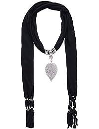 Lureme® Vintage Bohemia Style Solid Couleur Écharpe with Tassels Cœur Pendant Collier (01003029) (Noir)