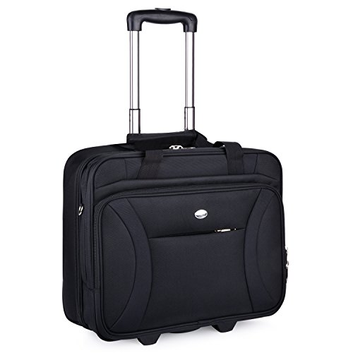 Business Trolley, Coofit Trolley Koffer Klein Laptop Trolley Notebook Koffer Handgepäck Hartschale Aktentasche Trolley Reisekoffer Trolley 16 Zoll (Coofit Schwarz)