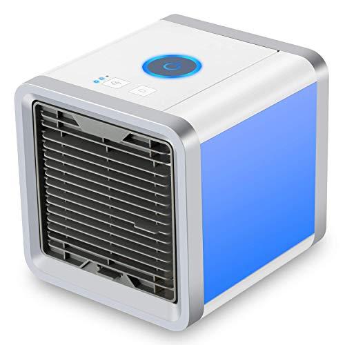SENDOW Mini Refrigerador Personal Portátil, USB Mini Refrigerador Purificador Humidificador con 7 Colores, Luces LED, con 3 Velocidades de Viento, Refrigerador para Hogar Oficina Coche al Aire Libre …