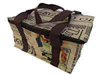 Vintage style newspaper print recycled eco friendly, waterproof & insulated (hot & cold) ladies, girls, kids, lunch bag, handbag by Fat-catz