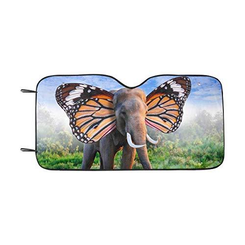 LLZQJ-DAA Parasol para Parabrisas Delantero con diseño de Elefante con alas de Mariposa, parasoles para Auto, camión, SUV