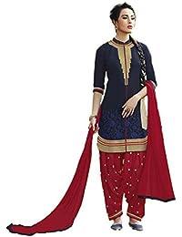 AnK Festival Sale Offer Blue & Red Cotton Embroidered Patiyala Pattern Semi Stitched Salwar Suit