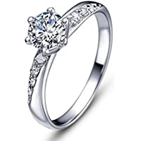 Ijewellery San Valentino Anelli Argento doppio spalla Cubic Zirconia anello di diamante promessa sposa per