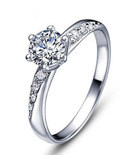 Doppia spalla di cristallo Solitaire Cubic Zirconia diamante Argento Promise Ring per la sua dimensione O